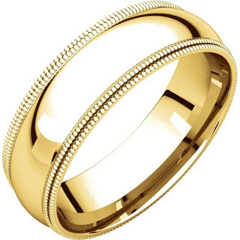 Item # TD123886E - 18K gold 6.0 mm wide comfort fit double milgrain edge wedding band. The finish on the ring is polished. Other finishes may be selected or specified.