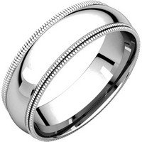 Item # TD123886PD - Palladium  6mm Double Milgrain Comfort Fit Wedding Band