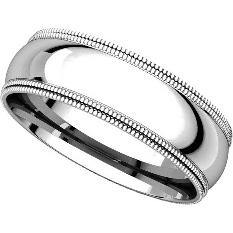 Platinum Double Milgrain 6mm Wide Flat Wedding Band Ring: TD123886PP Platinum 6mm Double Milgrain Comfort Fit