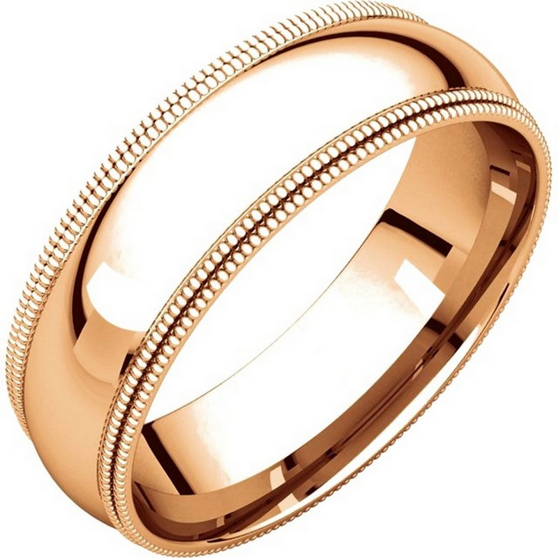 Item # TD123886RE - 18K Rose gold 6.0 mm wide comfort fit double milgrain edge wedding band. The finish on the ring is polished. Other finishes may be selected or specified.