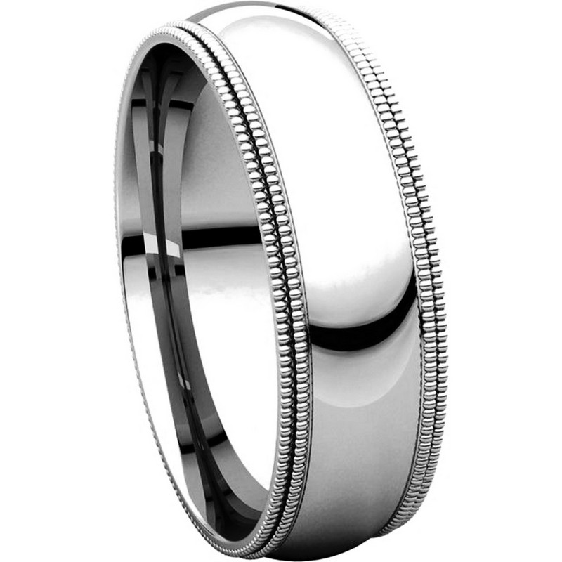 Item # TD123886WE View 5 - 18K White Gold 6mm Double Milgrain Comfort Fit Wedding Band