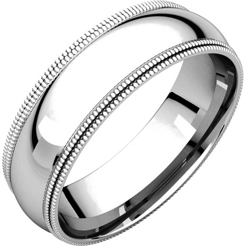 Item # TD123886WE - 18K white gold 6.0 mm wide comfort fit double milgrain edge wedding band. The finish on the ring is polished. Other finishes may be selected or specified.