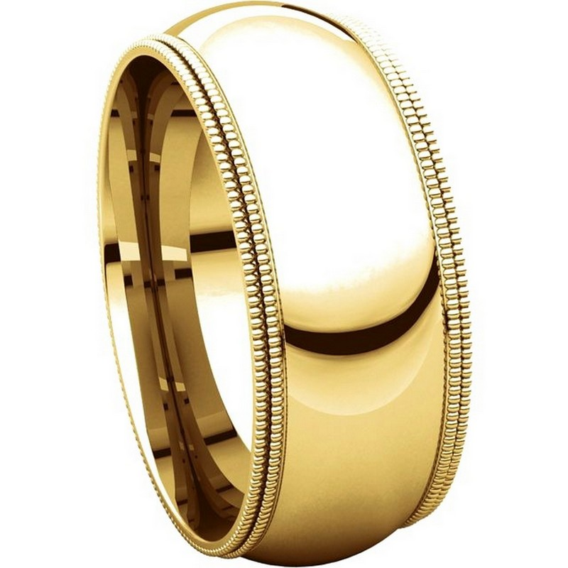 Item # TD123898 View 5 - 14K Gold 8mm Double Milgrain Wedding Band