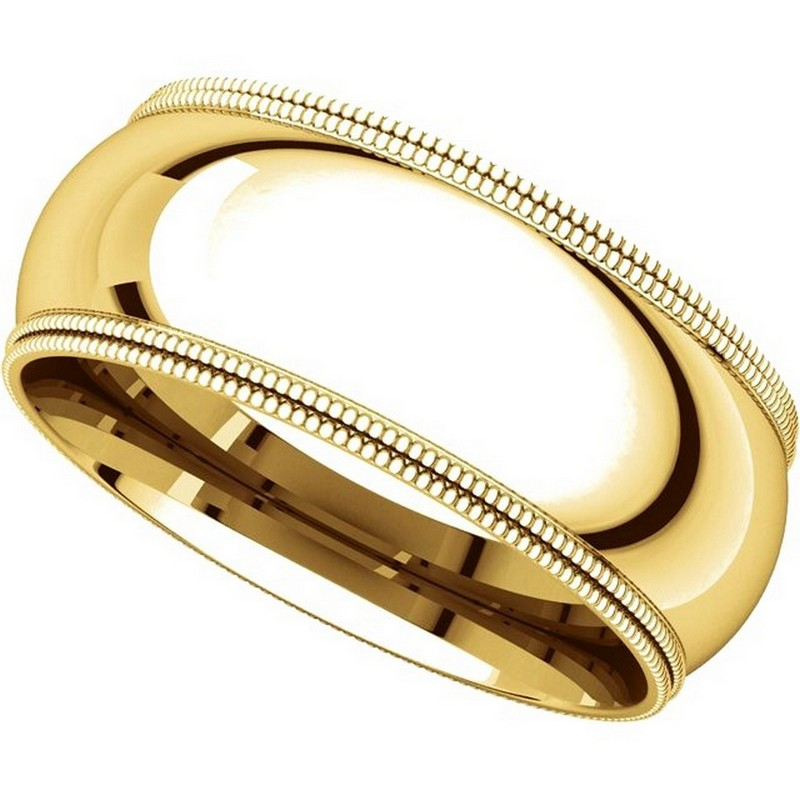 Item # TD123898E View 4 - 18K Gold 8mm Double Milgrain Wedding Band
