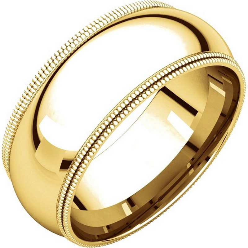 Item # TD123898E - 18K gold 8.0 mm wide comfort fit double milgrain edge wedding band. The finish on the ring is polished. Other finishes may be selected or specified.