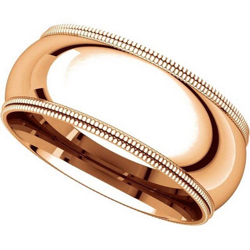 Item # TD123898RE View 4 - 18K Rose Gold 8mm Double Milgrain Wedding Band