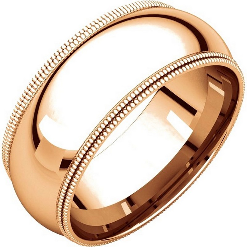 Item # TD123898RE - 18K Rose gold 8.0 mm wide comfort fit double milgrain edge wedding band. The finish on the ring is polished. Other finishes may be selected or specified.