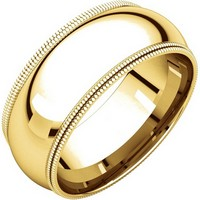 Item # TD123898 - 14K Gold 8mm Double Milgrain Wedding Band