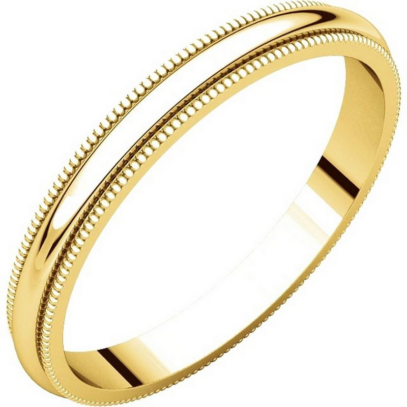 Item # TH238425E - 18K yellow gold, 2.5 mm wide heavy comfort fit, milgrain edge wedding band. The finish on the ring is polished. Other finishes may be selected or specified.