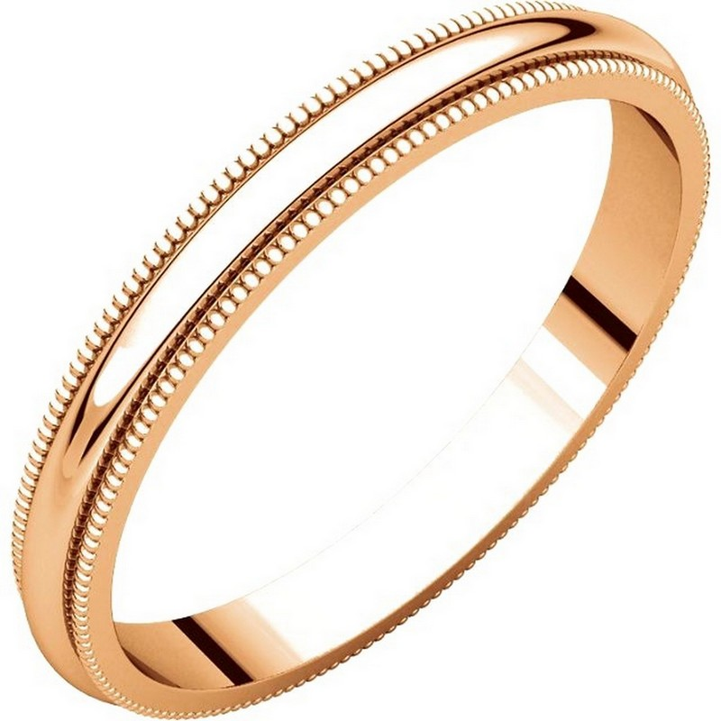Item # TH238425R - 14K Rose gold, 2.5 mm wide heavy comfort fit, milgrain edge wedding band. The finish on the ring is polished. Other finishes may be selected or specified.