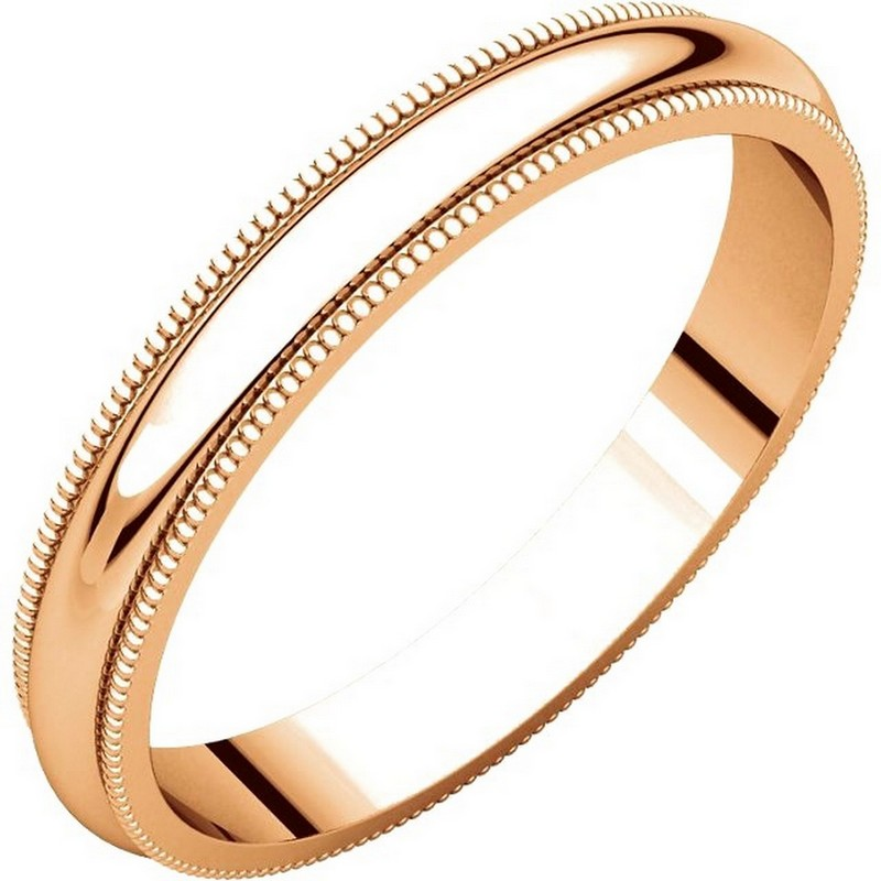 Item # TH23853R - 14K Rose gold, 3.0 mm wide, heavy comfort fit, milgrain edge wedding band. The finish on the ring is polished. Other finishes may be selected or specified.