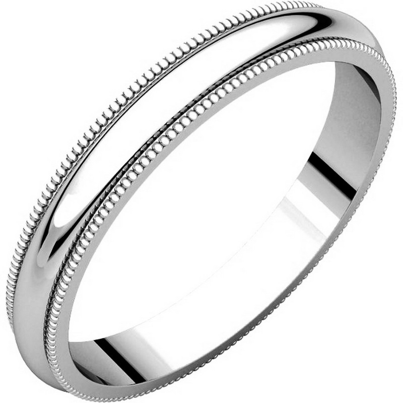 Item # TH23853WE - 18k white gold, 3.0 mm wide, heavy comfort fit, milgrain edge wedding band. The finish on the ring is polished. Other finishes may be selected or specified.