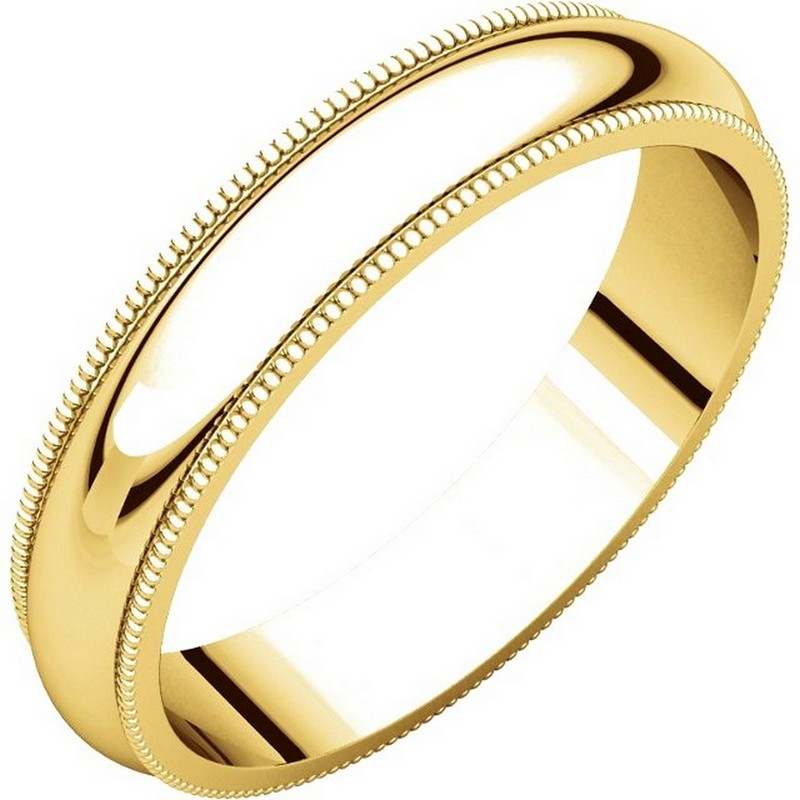 Item # TH23864 - 14k yellow gold, 4.0 mm wide heavy comfort fit, milgrain edge wedding band. The finish on the ring is polished. Other finishes may be selected or specified.
