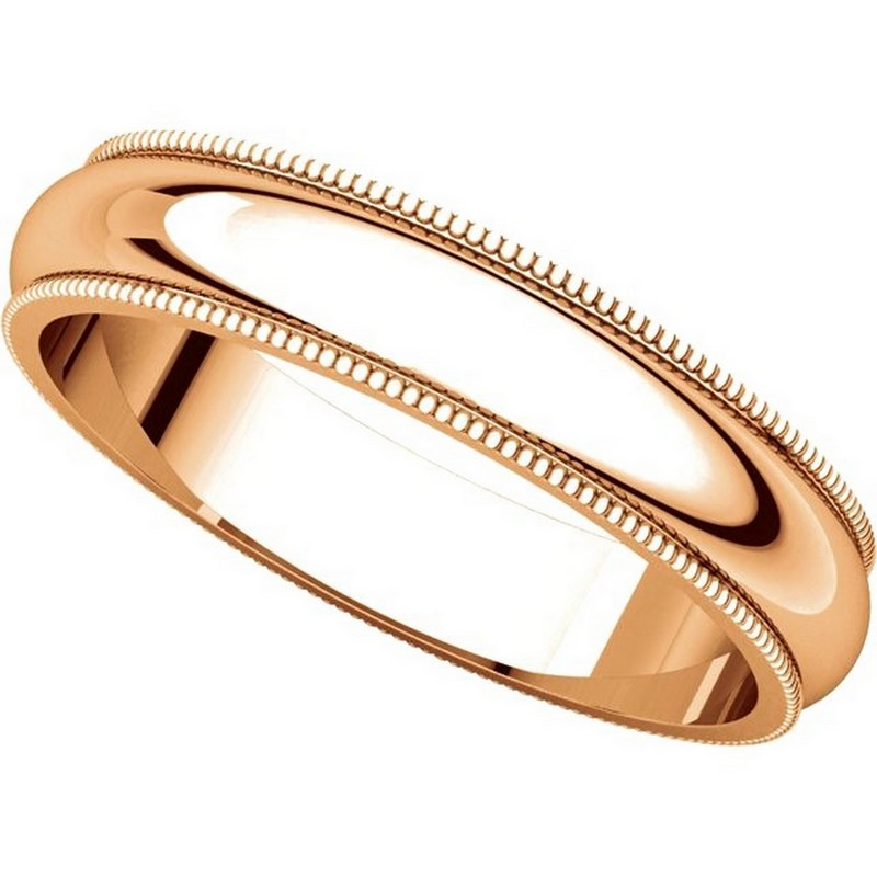 Item # TH23864R View 4 - 14K Rose Gold 4mm Milgrain Edge Comfort Fit Wedding Band