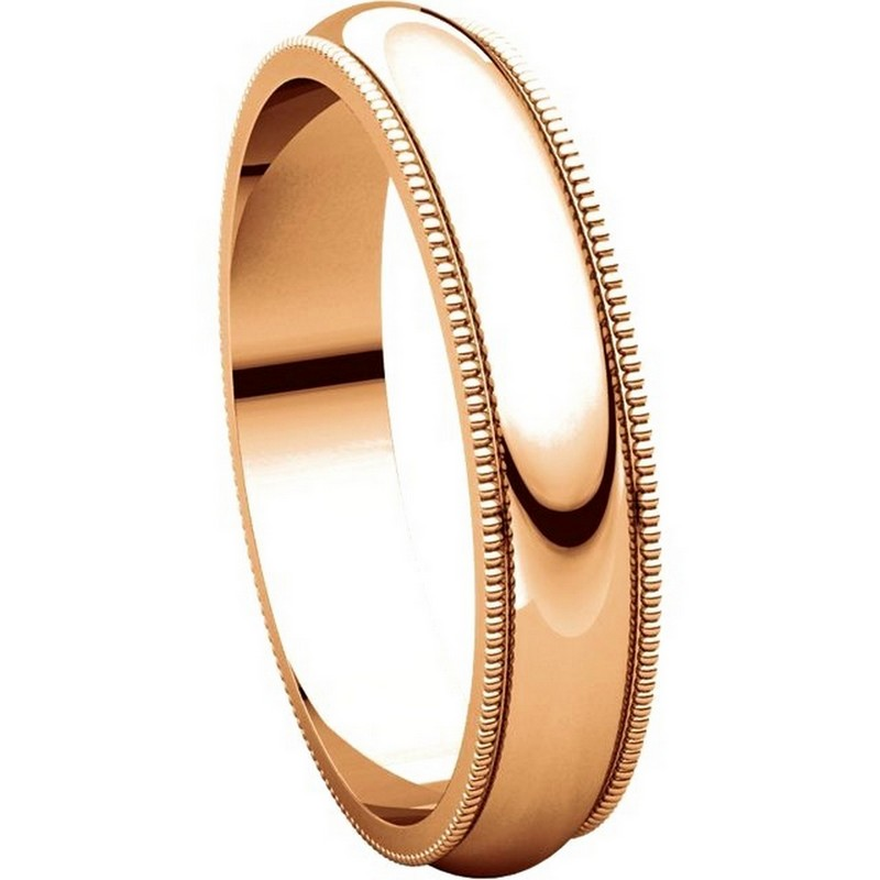 Item # TH23864R View 5 - 14K Rose Gold 4mm Milgrain Edge Comfort Fit Wedding Band