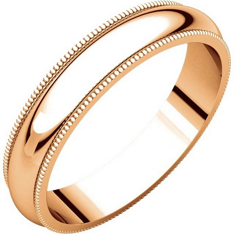 Item # TH23864R - 14K Rose gold, 4.0 mm wide heavy comfort fit, milgrain edge wedding band. The finish on the ring is polished. Other finishes may be selected or specified.