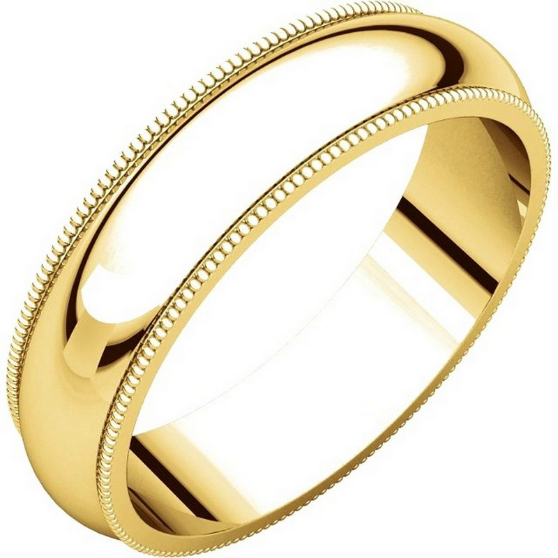 Item # TH23875E - 18kt Yellow gold, 5.0 mm wide heavy comfort fit, milgrain edge wedding band. The finish on the ring is polished. Other finishes may be selected or specified.