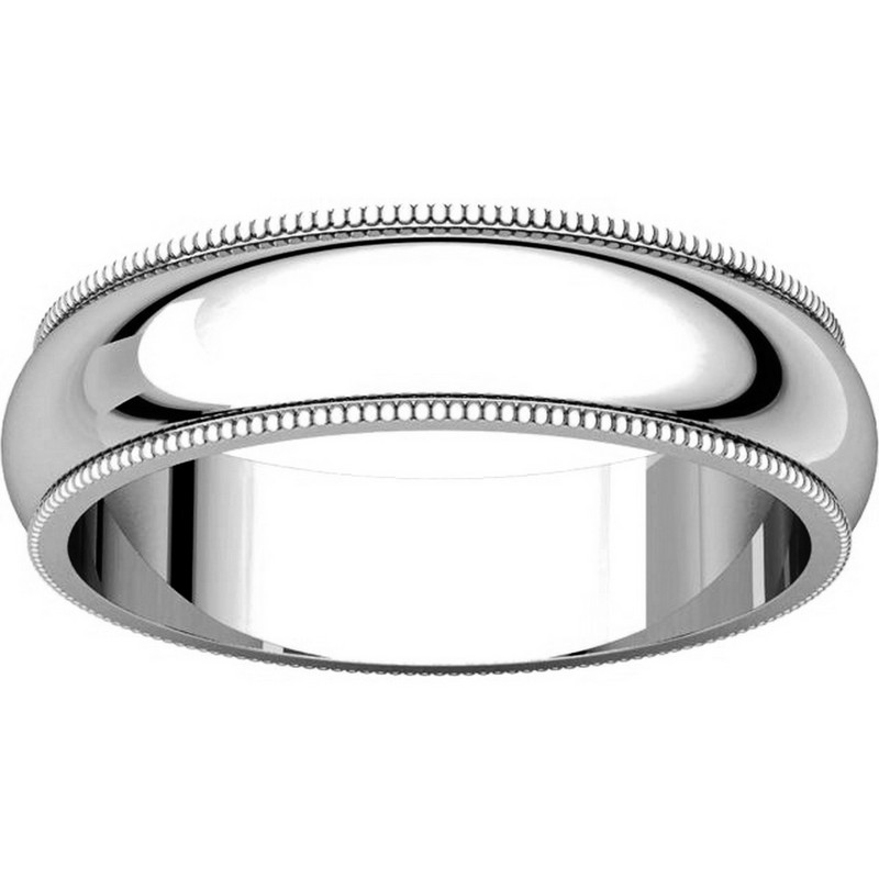 Item # TH23875PP View 3 - Platinum 5mm Milgrain Edge Comfort Fit Wedding Band