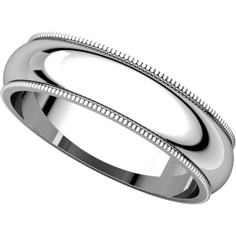 Item # TH23875PP View 4 - Platinum 5mm Milgrain Edge Comfort Fit Wedding Band