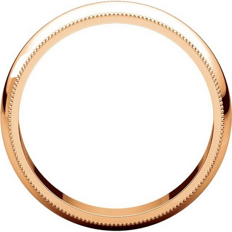 Item # TH23875R View 2 - 14K Rose Gold 5mm Milgrain Comfort Fit Wedding Band