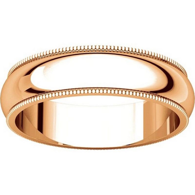 Item # TH23875R View 3 - 14K Rose Gold 5mm Milgrain Comfort Fit Wedding Band