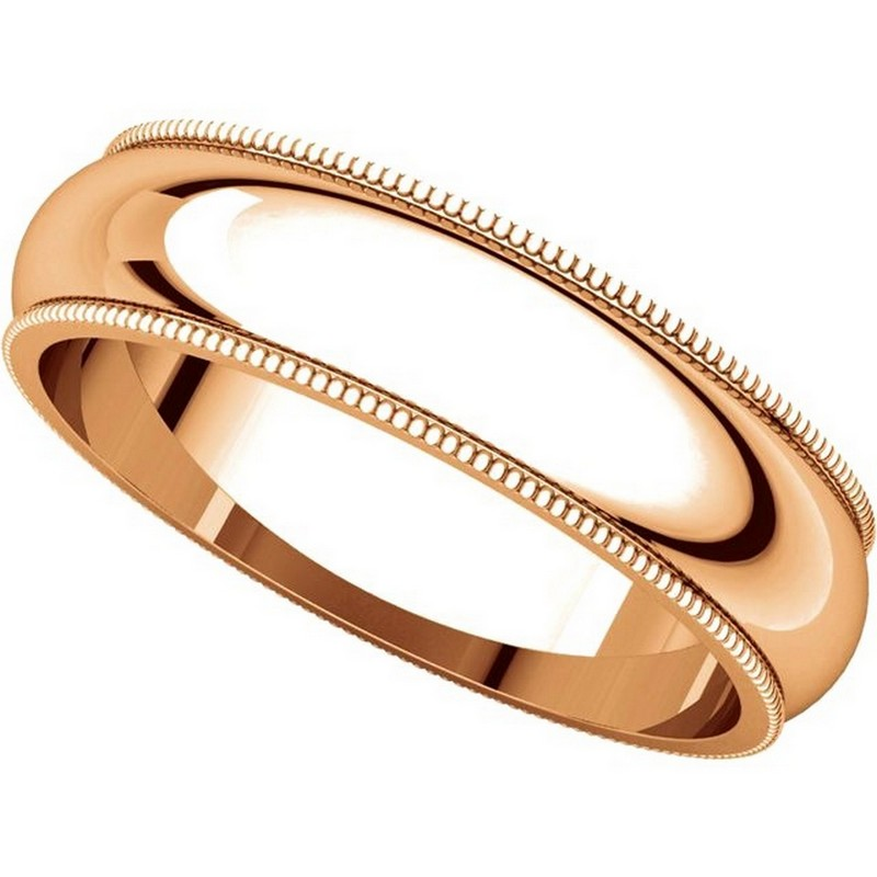 Item # TH23875R View 4 - 14K Rose Gold 5mm Milgrain Comfort Fit Wedding Band