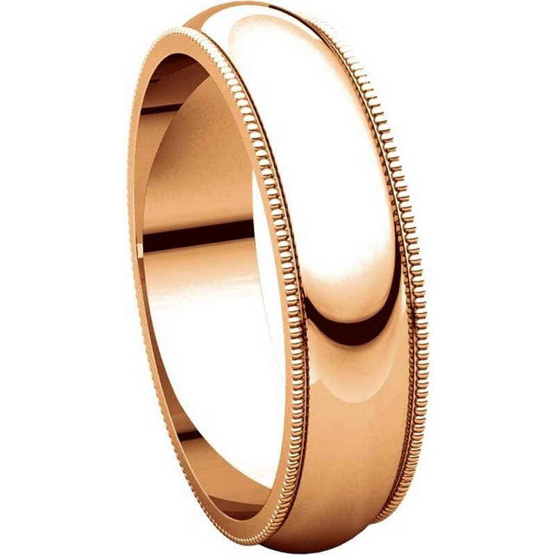 Item # TH23875R View 5 - 14K Rose Gold 5mm Milgrain Comfort Fit Wedding Band