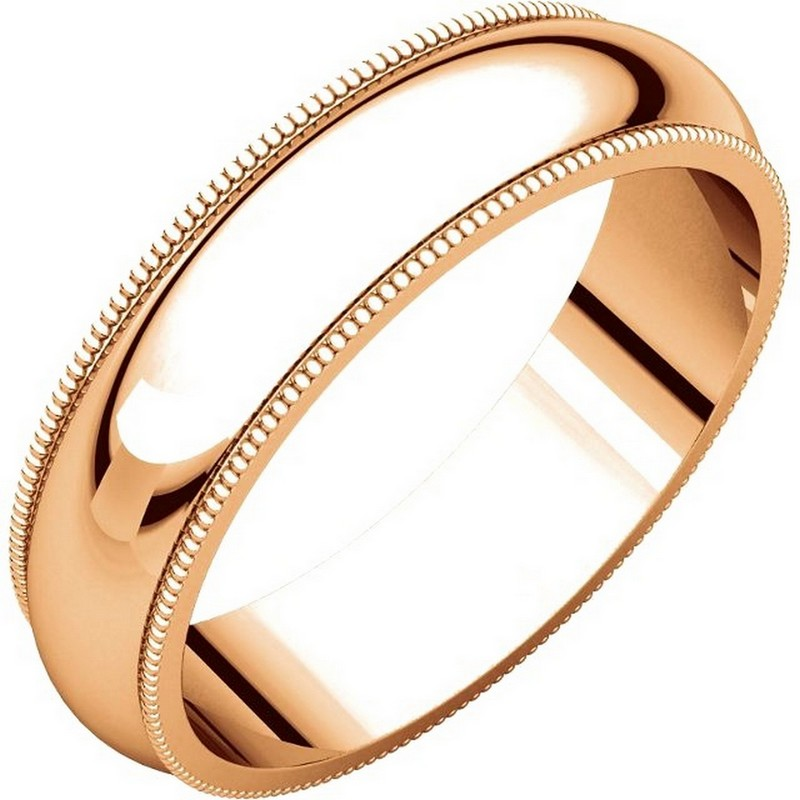 Item # TH23875R - 14K Roset gold, 5.0 mm wide heavy comfort fit, milgrain edge wedding band. The finish on the ring is polished. Other finishes may be selected or specified.