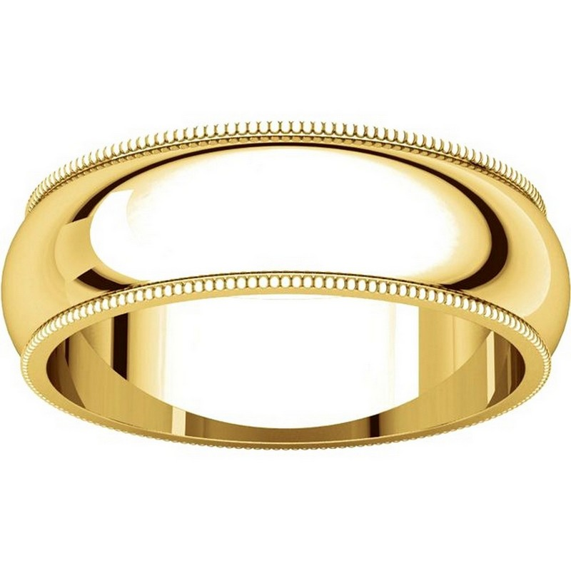 Item # TH23886 View 3 - 14K Gold 6mm Milgrain Comfort Fit Wedding Band
