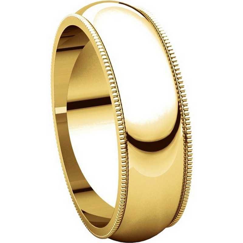 Item # TH23886 View 5 - 14K Gold 6mm Milgrain Comfort Fit Wedding Band