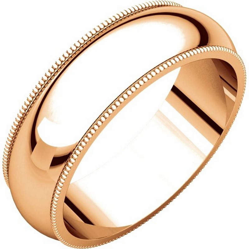 Item # TH23886R - 14 kt Rose gold, 6.0 mm wide heavy comfort fit, milgrain edge wedding band. The finish on the ring is polished. Other finishes may be selected or specified.