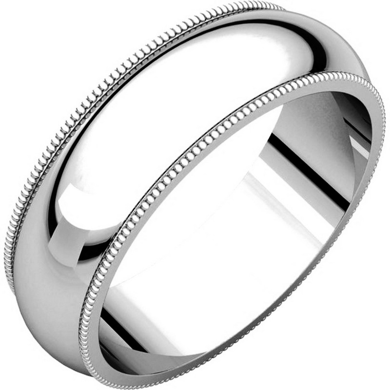 Item # TH23886WE - 18 kt white gold, 6.0 mm wide heavy comfort fit, milgrain edge wedding band. The finish on the ring is polished. Other finishes may be selected or specified.