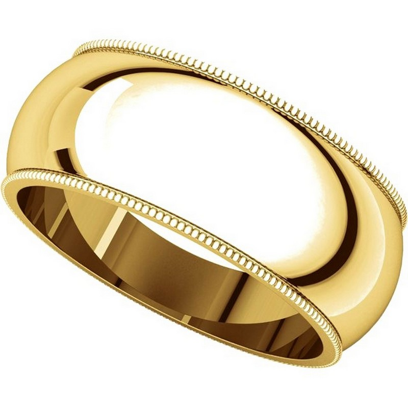 Item # TH23898 View 4 - 14K Gold 8mm Milgrain Comfort Fit Wedding Band