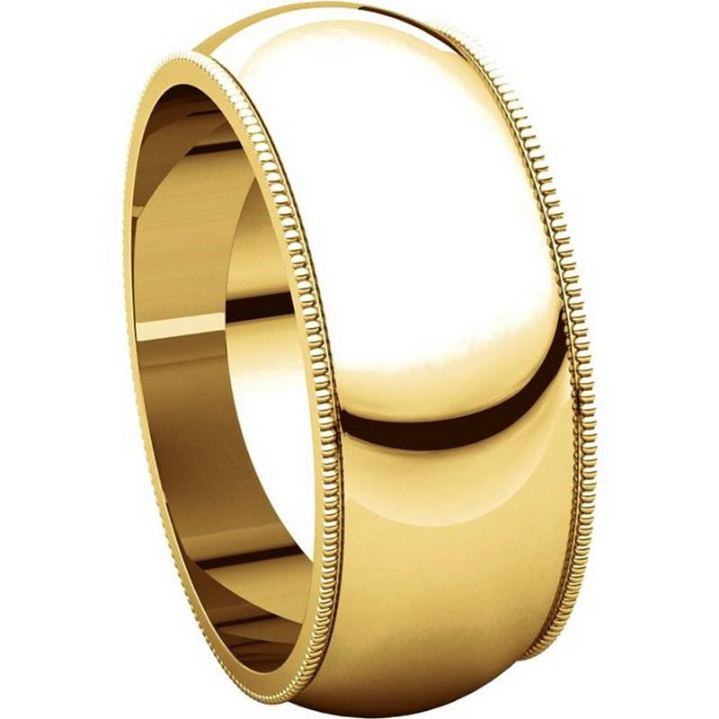Item # TH23898 View 5 - 14K Gold 8mm Milgrain Comfort Fit Wedding Band