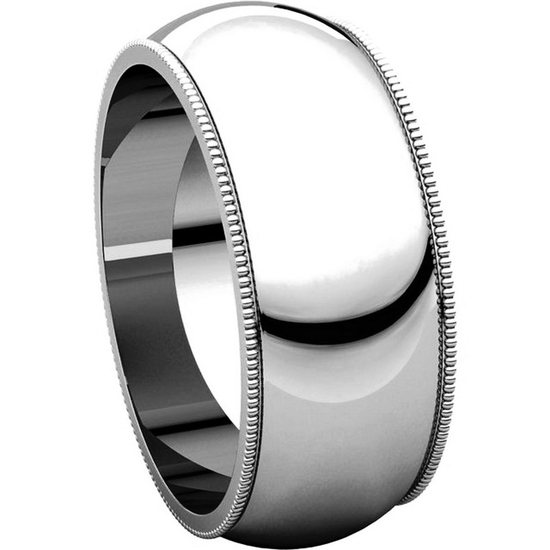 Item # TH23898W View 5 - 14K Gold 8mm Milgrain Comfort Fit Wedding Band