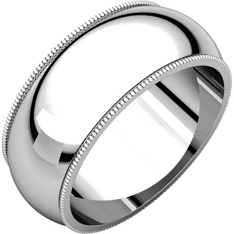 Item # TH23898W - 14 kt white gold, 8.0 mm wide heavy comfort fit, milgrain edge wedding band. The finish on the ring is polished. Other finishes may be selected or specified.