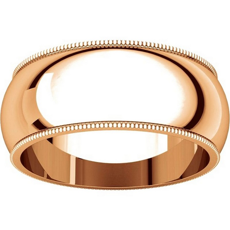 Item # TX1238910R View 3 - 14K Rose Gold Comfort Fit Milgrain 10mm Wedding Band