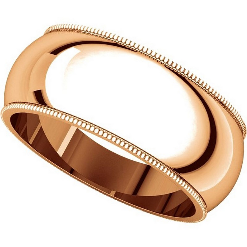 Item # TX1238910R View 4 - 14K Rose Gold Comfort Fit Milgrain 10mm Wedding Band