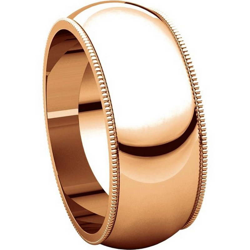 Item # TX1238910R View 5 - 14K Rose Gold Comfort Fit Milgrain 10mm Wedding Band