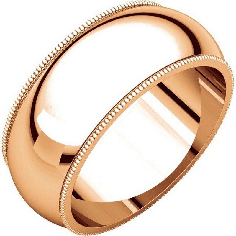 Item # TX1238910R - 14K Rose gold 10.0mm wide comfort fit, milgrain edge wedding band. The finish on the ring is polished. Other finishes may be selected or specified.