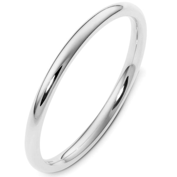 Item # UH123782AG - Silver, heavy comfort fit, 2.0 mm wide wedding band. The finish on the ring is polished. Other finishes may be selected or specified.