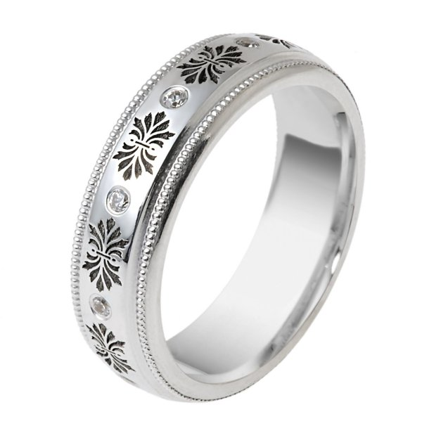 Item # V11470WE - one 18kt white gold Verona Lace design wedding band. The wedding band is a comfort fit, 6.0mm wide and holds 10 round brilliant cut diamonds with totaL wight of 0.10ct and are graded as VS1-2 in clarity G-H in color..