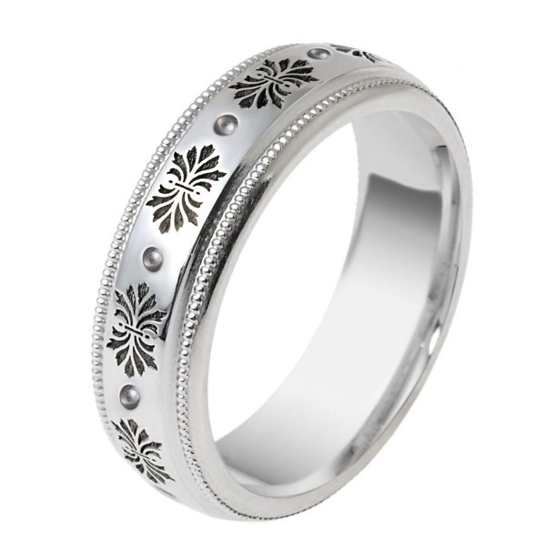 Item # V11471PD - Palladium, comfort fit, 6.0mm wide wedding band. The wedding band has Verona Lace design. Please see V11470PD for matching ladies' ring.