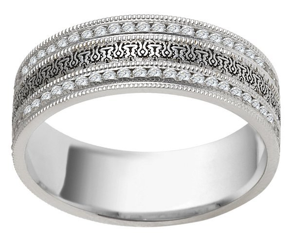 Item # V11472PP View 2 - Platinum Eternity Wedding Ring Verona Lace Juliet