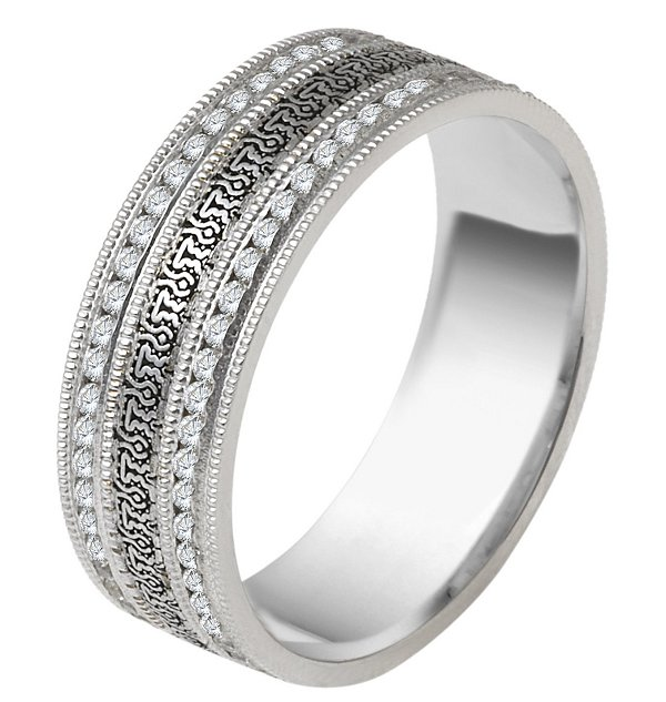 Item # V11472W - 14kt white gold, 5.5mm wide, comfort fit, Verona Lace design, diamond eternity wedding band. The wedding band holds 114 round brilliant cut diamonds each 0.005ct . The diamond total weight in size 6 is approximately 0.57 ct. The diamonds are graded as VS1-2 in clarity and G-H in color.