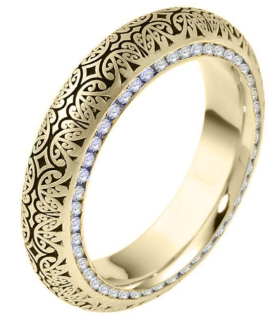 Item # V11474 - 14kt  gold, 5.5mm wide, comfort fit, Verona Lace design, diamond eternity wedding band. The wedding band holds 92 round brilliant cut diamonds each 0.005ct.The diamonds are set in channel on both side of the ring. The diamond total weight in size 6 is approximately 0.46 ct. The diamonds are graded as VS1-2 in clarity and G-H in color. Please see V11475 for matching Men's ring.