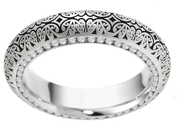Item # V11474WE View 2 - 18K Diamond Verona Lace Eternity Wedding Band Juliet