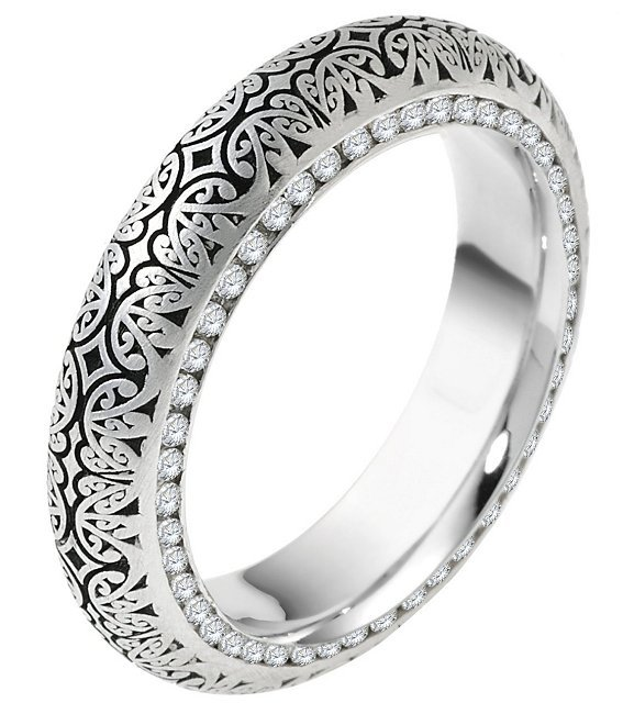 Item # V11474PP - Platinum, 5.5mm wide, comfort fit, Verona Lace design, diamond eternity wedding band. The wedding band holds 92 round brilliant cut diamonds each 0.005ct. The diamonds are set in channel on both side of the ring. The diamond total weight in size 6 is approximately 0.46 ct. The diamonds are graded as VS1-2 in clarity and G-H in color. Please see V11475PP for matching Men's ring
