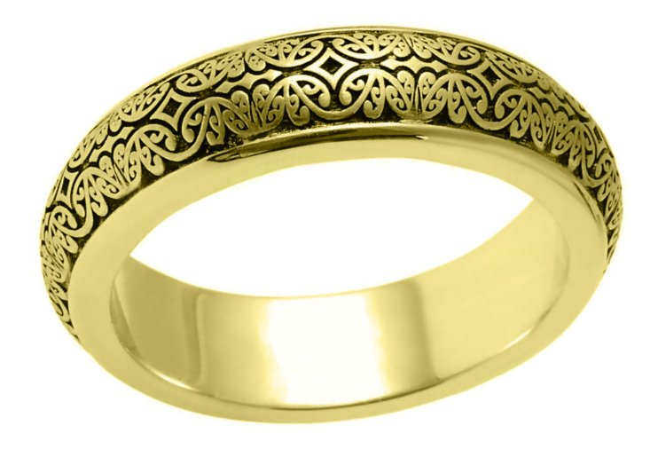 Item # V11475 View 2 - 14K Gold Verona Lace Wedding Band Romeo