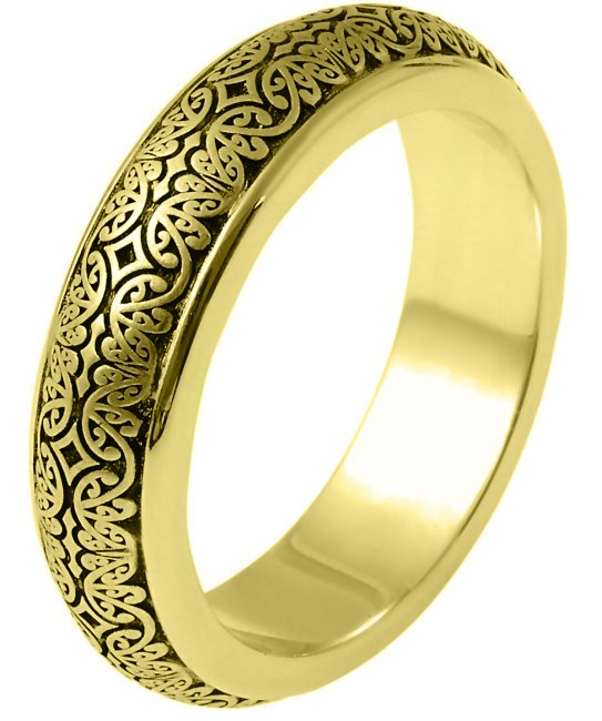 Item # V11475E - 18kt gold, 6.0mm wide, comfort fit, Verona Lace design wedding band. See V11474E for matching ladies' ring.